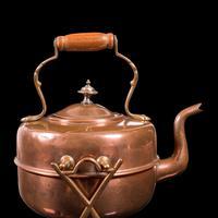 Antique Spirit Kettle, English, Copper, Brass, Teakettle, Stand, Victorian, 1900 (9 of 12)