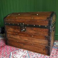 Antique Steamer Trunk Victorian Dome Top Chest Old Rustic Pine Blanket Box + Key (6 of 10)