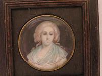 Miniature Portrait Lady of the Court 1 0f 2 Matching Oak Frames (3 of 3)