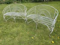 Pair of Art Deco Style Peacock Design Garden Curved Benches (5 of 35)