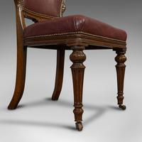 Pair of Antique Chairs, Walnut, Leather, Seat, Doveston, Bird & Hull, Victorian (10 of 12)