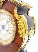 Antique French Burr Walnut & Ormolu 8-Day Mantel Clock Rococo Boulle Case Segment Dial (10 of 11)