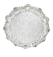 """Antique Victorian Sterling Silver 11"""" Tray / Salver 1898 (9 of 9)"""