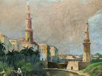Large Early 1900s North African Cityscape with Mosque Oil Painting on Canvas (2 of 15)