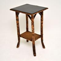 Antique Victorian Bamboo Leather  Top Side Table (3 of 6)