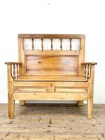 Vintage Pine Settle Bench with Storagev (3 of 10)