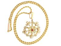 Ruby & Seed Pearl, 15ct Yellow Gold Pendant / Brooch - Antique c.1920 (2 of 14)