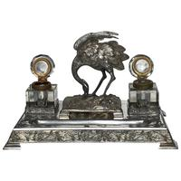 Antique Victorian Silver Plate Crane Bird Inkwell Stand After James Deakin