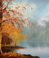 Immaculate Large Original Mid-20thc Vintage Autumn River Landscape Oil Painting (5 of 11)