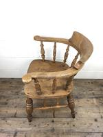 19th Century Beech and Elm Smoker's Bow Chair (8 of 12)