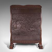 Antique Embossed Fire Screen, Oak, Leather, Fireside, Arts & Crafts, Edwardian (2 of 12)