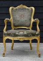 Beautiful Matched Pair of Fine Quality French Gilt Armchairs c.1900 (9 of 16)