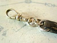 Victorian Equestrain Pocket Watch Chain 1890s Antique Steel & Leather Albert with Snaffle Bit (9 of 12)