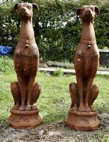Pair of Large Outdoor Weathered Cast Iron Greyhound Dogs (6 of 9)