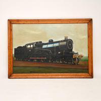 Antique Victorian Oil Painting Steam Locomotive Train (3 of 11)