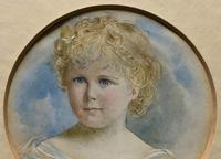 Albany E Howarth ARE Miniature Watercolour Portrait Painting of Little Girl (9 of 11)