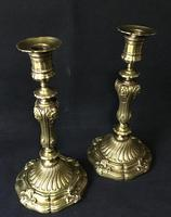 Pair of  Antique Rococo Style  Gilt Cast Brass Candlesticks (3 of 5)