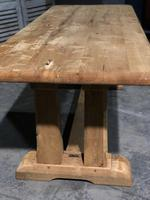 French Bleached Oak Trestle Farmhouse Dining Table (5 of 18)
