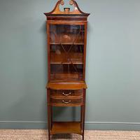 Quality Tall Slim Mahogany Victorian Antique Bookcase