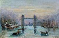 Superb Original 1921 View of Tower Bridge London Seascape Oil Painting (2 of 12)