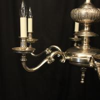 English Silver Plated 6 Light Antique Chandelier (2 of 10)