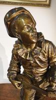 Bronze Sculpture of Pierrot.   Au Clare De La Lune.   c.1890 (6 of 10)