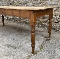 Large Antique Pine Farmhouse Table on Turned Legs (4 of 19)
