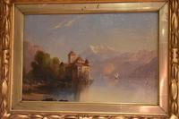 Alpine scene oil painting with castle by a lake (6 of 6)