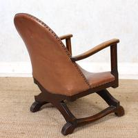 Carved Oak Leather Bucket Sofa & Chair (23 of 24)