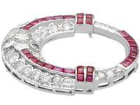 0.97ct Ruby & 2.23ct Diamond, 14ct White Gold Brooch - Art Deco c.1930 (4 of 9)