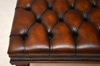 Large Antique Victorian Style Deep Buttoned Leather Stool / Coffee Table (8 of 9)