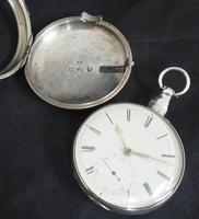 Antique Silver Pair Case Pocket Watch Fusee Escapement Key Wind Enamel Dial John Bernard London Liverpool (8 of 12)