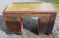 1960s Yew Wood Pedestal Desk and Green Leather Top (4 of 4)