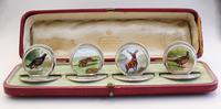 Cased Set of 4 Edwardian Silver & Enamel English Game Menu Holders by Sampson Mordan, Chester, 1904 (3 of 15)