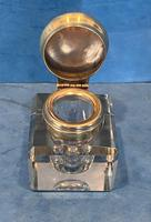 Victorian Cut Glass Inkwell with a Brass Top (3 of 10)