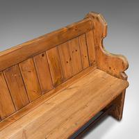 Antique Bench Seat, English, Pine, Pew, Ecclesiastic Taste, Victorian c.1900 (10 of 12)