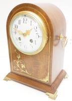 Good Antique French 8-day Arched Top Inlaid Mantel Clock Art Nouveau Mantel Clock (3 of 10)