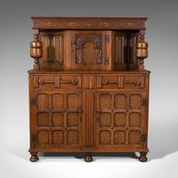 Antique Carved Court Cabinet, English, Oak, Sideboard, Jacobean Revival c.1910 (2 of 12)