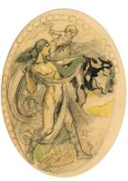 Exclusive Russian Symbolism Painting from Private Collection. #3 Female with a Bull