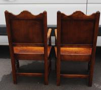 1900's Pair of Oak Carver Armchairs with Tudor Rose Motif in the Panel (3 of 3)