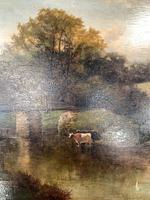 Antique River Landscape Oil Painting with Cows by Bridge Signed W Weir (3 of 10)