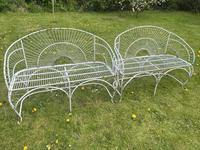 Pair of Art Deco Style Peacock Design Garden Curved Benches (7 of 35)