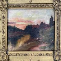 Antique Victorian signed oil painting river landscape at sunset in gesso frame (6 of 8)