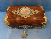 Victorian Brassbound & Brass Inlaid Walnut Jewellery Box