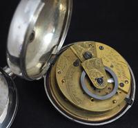 Antique Silver Pair Case Pocket Watch Fusee Verge Escapement Key Wind Galleon Ships Painting (4 of 5)