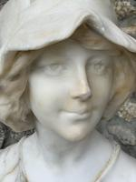 Alabaster Bust of Young Girl Wearing a Bonnet (12 of 25)