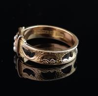 Antique mourning ring, 15ct gold, black enamel, pearl and diamond (8 of 12)