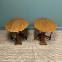 Unusual Pair of Edwardian Oak Drop Leaf Antique Sofa Tables (7 of 7)