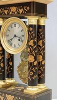 French Ebonised and Inlaid Portico Mantel Clock (4 of 10)