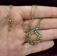 Antique Art Nouveau 15ct Gold Floral Pendant, Pearl & Turquoise, 9ct Gold Necklace (2 of 12)